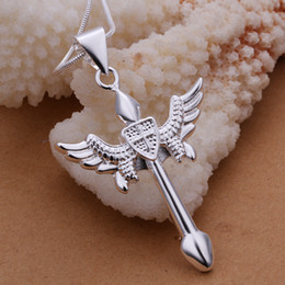 Men's Jewelry 925 sterling silver bow and arrow Cross penant necklace n289 gift box free shipping