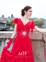 Wholesale Charming Lithe A Line Red V Neck Short Sleeve Crystal And Back Up Lace Train Wedding Dresses Chiffon Sweep Train