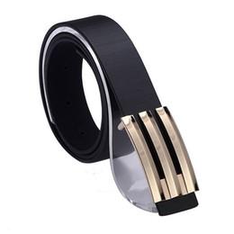1PCS Fashion Korea Mens Gold Smooth Buckle Black PU Leather Belt Waistband #23636