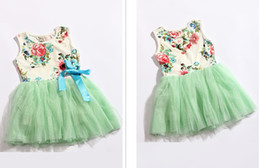 2016 New arrival Summer dresses girls baby tutu dress kids clothes girls gauze cotton princess lace tulle dress childrens clothing 4pcs