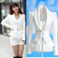 Jackets Women  Cotton Blends Korea Style Women's Big Bowknot OL White Slim Suit Coats Jackets Tops #7327