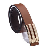 1PCS Fashion Korea Mens Gold Smooth Buckle Brown PU Leather ...