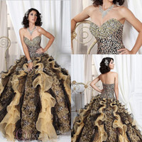 Autumn/Spring leopard print dress - 2014 New Ball Gown Sweetheart Leopard Print Organza Prom Dresses Princess Quinceanera Dresses