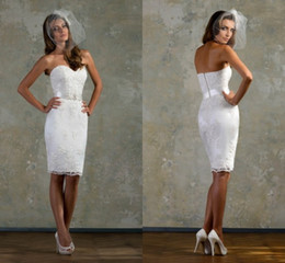 Wholesale 2014 New Arrival Gorgeous Sexy Strapless Lace With Belt Short Mini Wedding dress Bride Wedding dresses