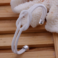 Wholesale Popular Jewelry Christmas Gift Silver Mesh Knot Charms Women s Bangle Cuff