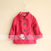 Girl Turn-down Collar 100% Cotton Baby Clothing Wear Child Overcoat Red Coat With Sash Kids Trench Coats Girls Cute Casual Coat Fashion Princess Trench Coat Children Outwear