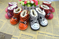 Wholesale 2013 New Arrival Warm Kids Boots Printed Zabra year old Unisex Baby Cartoon Animal Winter Gum Rubber Outsole Fastener Antiskid Shoes