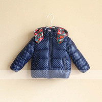 Wholesale Kids Cotton Jackets Winter Coats Girls Jackets Children Outwear Fashion Hooded Coat Child Wear Polka Dot Casual Jacket Cotton Padded Clothes