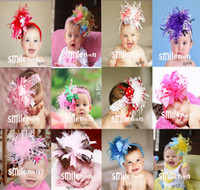 Wholesale New Design hair bows Girl Feather Headbands Christmas Hair Band Feather Silk Hair Accessories Flower Hairbands