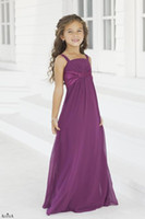 Chiffon Ruffle Floor-Length Chiffon spaghetti straps sweetheart dress with satin fitted on the empire waist girls short party gown junior bridesmaid dresses BL 2974