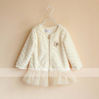Wholesale Girls Jackets Children Outwear Baby Cute Lace Coat Kids Jacket Winter White Casual Coat Child Clothing Fashion Pearl Collar Princess Jacket