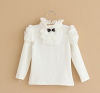 Wholesale 2013 Autumn Children Girls Shirred Princess Collar Puff Sleeve White Cotton Shirts Solid Plain Tops Child Clothing B1466