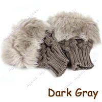 Wholesale 20 pairs women winter wool Gloves Arm Warmer Fingerless Gloves Knitted Fur Trim Glove Mittens