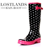 Wholesale Lostlands handsome fashion High quality comfortable women s rain boots high women s rainboots strawberry cheece Rain shoes