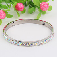 Wholesale 2Pcs AB Clear Czech Crystal Bead Rows Shamballa Bangle Cuff Bracelet Stainless Steel