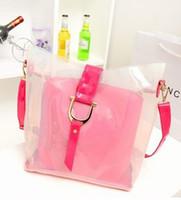 La moda bolsas de plástico transparentes Baratos-Bolsa de plástico transparente nueva jalea mensajero dama de la moda bolso de totalizador mujeres del bolso del hombro # 0131