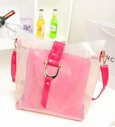 La moda bolsas de plástico transparentes en Línea-Bolsa de plástico transparente nueva jalea mensajero dama de la moda bolso de totalizador mujeres del bolso del hombro # 0131
