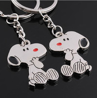 Promotion advertise fashion - Lovers Key Ring Couple Keychain Rings Snoopy advertising amp promotion gift Cheap key chains Pairs Fashion wedding Favor Gift