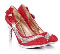 Wholesale High heels Korean club princess shoes new bridesmaid shoes bowknot single diamond wedding shoes dress shoes