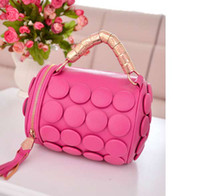 Wholesale New style tassel buttons bucket bag women shoulder handbag candy color lady package tote