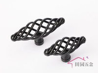 Wholesale 55MM Black Country style iron birdcage knob iron cabinet furniture drawer wardrobe door handle MT L mm