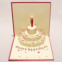 Wholesale Handmade Kirigami Origami D Pop UP Birthday Cards with Candle Design For Birthday Party set of