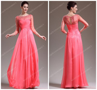 Wholesale 2014 Sheer Vintage Evening Dresses Bateau See through Long Sleeves Floor Length Watermelon red Women Formal Prom Pageant Gowns Beading