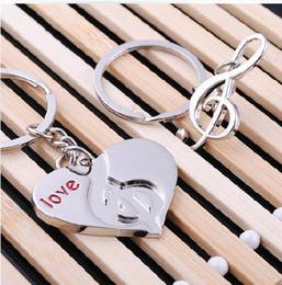 Wholesale Lovely Key Ring Couple Key chain Rings Musical Advertising Promotion gift Cheap key chains Pairs Fashion wedding Favor Gift