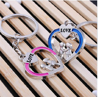 Wholesale Lovely Key Ring Couple Key chain Rings Heart Advertising Promotion gift Cheap key chains Pairs Fashion wedding Favor Gift