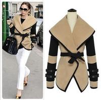 Wholesale Fashion Women Turn down collar Beige Jackets Cape with belt ladies design wool blend cardigan plus size