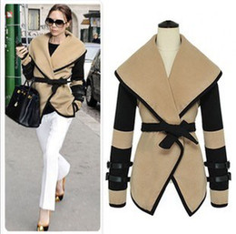 Wholesale Fashion Women Turn down collar Beige Jackets Cape with belt ladies design wool blend cardigan plus size