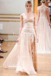 Wholesale New Zuhair Murad Evening Dresses Sexy One shoulder Lace Ruffle A Line Slit Prom Dresses BO2159