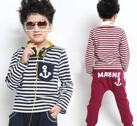 Boy anchor blue hoodies - Hot Sale Children s Outfits Anchor Printed Striped Hoodies Pants Nautical Style Children Boys Outfits Teenagers Chambray Tracksuit