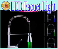 abs mixer - High quality LED faucet Kitchen Pull Out Spray Mixer Tap Polished Chrome solid brass