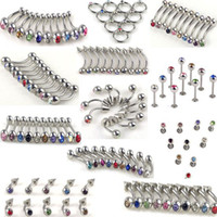 Women's Stainless Steel Valentine's Day 220pcs 11styles Wholesale Body Jewelry lots Belly Tongue Lip Rhinestone Piercing [BB19-BB29*20]