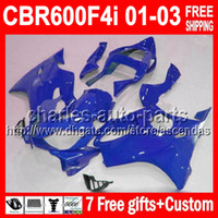 7gifts 100%NEW For HONDA F4i 01- 03 ALL BLue CBR600F4i 01 02 ...