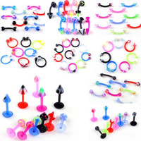 acrylic labret - Mixed styles Body Jewelry Lip Bar Tongue Eyebrow Piercing Free BC02 BC04 BC11