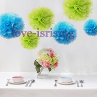 Wholesale Lowest Price quot cm Aqua Blue Color Tissue Paper Pom Poms Flower Balls Wedding Bridal Shower Decor Paper Craft Mixed Color uPick