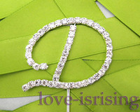 Wholesale Silver Diamante Letter quot D quot Monogram Wedding Cake Topper cupcake decoration Wedding Favor Supplies New Arrivals