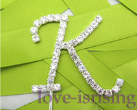 Wholesale Silver Diamante Letter quot K quot Monogram Wedding Cake Topper cupcake decoration Wedding Favor Supplies New Arrivals