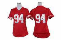 Football Women Short Women 94 Red New Jerseys New Arrival San Francisco Justin Smith Team Jerseys Number Embroidery High Quality Cheap American Football Jerseys