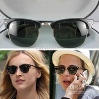 Glass Beach Semi-Rimless Wholesale - High Quanlity 3016 clubmaster Black Sunglasses 3016 Unisex Sunglasses men's Sunglasses 3016 sunglasses women's sunglasses Black