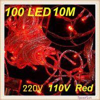 Wholesale Red LED M Fairy Light String for Holiday Christmas tree wedding party V V Free shippin