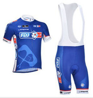 Wholesale TOUR DE FRANCE FDJ TEAM BLUE Short Sleeve Cycling Jersey Bike Bicycle Wear BIB Shorts F001 Size XS XL