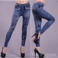 Skinny,Slim stretch jeans - WOMEN S PRINTED ELASTIC WAIST SLIM STRETCH JEANS LEGGINGS WF