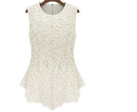 Wholesale 2013 summer autumn new fashion women lined dress cotton lace tops blouses European style sexy sleeveless dress
