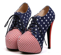 Women Pumps Kitten Heel Euramerican woman flag pattern fashion short boots pumps female ladies ankle naked boots shoes heels