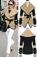 Wholesale Sexy New Fashion Women Leather Sleeves Wool Military Jacket Plus Size Western Victorian Poncho Cape Coat