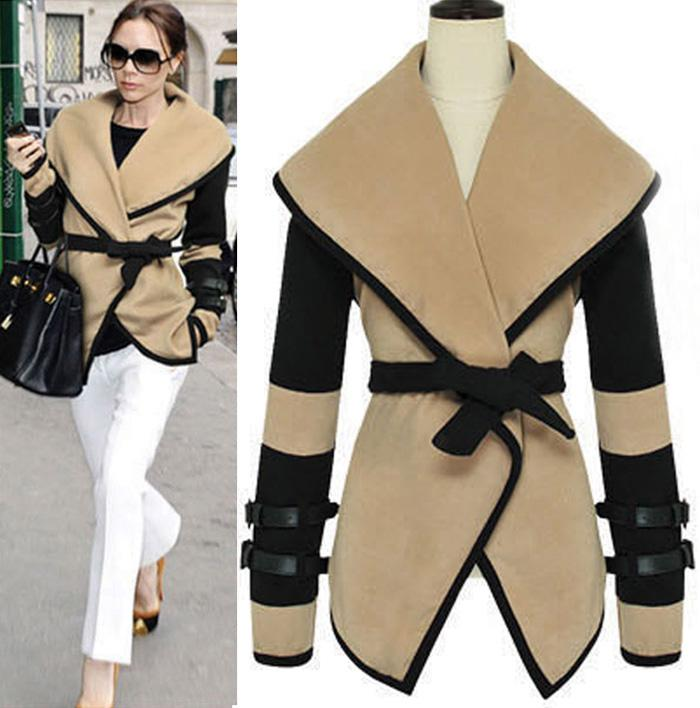 European Style New Women Leather Sleeves Plus Size Wool Military ...