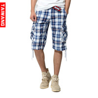 Wholesale GTW Brand Summer Fashion Mens Plaid Cargo Pants Baggy Hip Hop Harem Pants Men Cotton Casual Capri Shorts